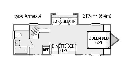 トラベルトレーラーAタイプ:見取り図